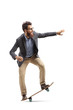 Bearded man in formal clothes riding a skateboard