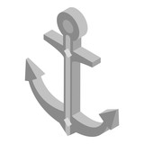 Marine anchor icon. Isometric of marine anchor vector icon for web design isolated on white background
