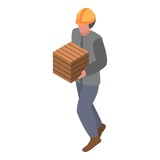 Marine port worker with box icon. Isometric of marine port worker with box vector icon for web design isolated on white background