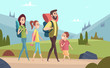 Family hiking background. Walking couples in mountains kids with parents tourists travellers outdoor adventure vector characters. Illustration of family hiking travel summer