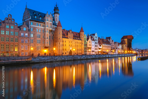 Old town of Gdansk reflected in the Motlawa river at dusk, Poland. © Patryk Kosmider