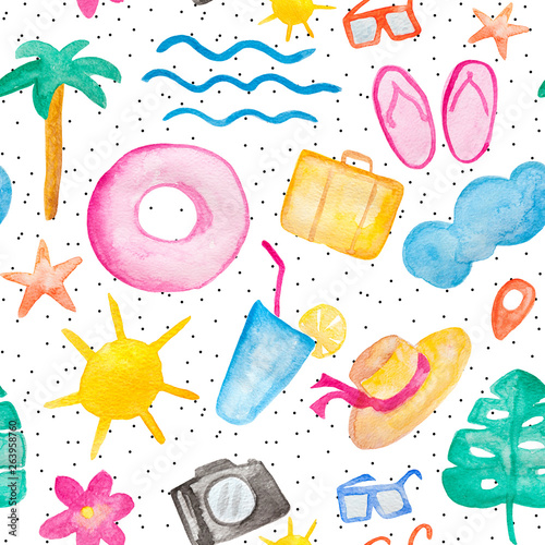 Vacation and travel watercolor painting, seamless pattern with sun, palm, cocktail elements on white background with black dots © justesfir