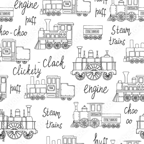 Vector black and white seamless pattern of retro engines. Vector repeat background of vintage trains isolated on white background. Cartoon style endless illustration of old trains for children © Lexi Claus
