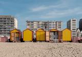 Vintage beach huts on the Belgian coast