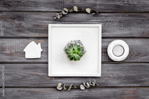 modern design of work desk with plant, house figures on wooden background top view © 9dreamstudio