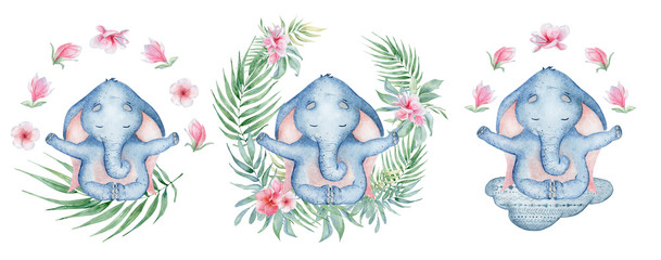 Watercolor yoga elephant in lotus position with flowers on the cloud cute hand drawn illustration © EvgeniiasArt