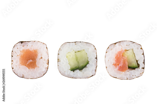 Sushi rolls isolated on white background. Collection. Close-up of delicious japanese food with sushi roll.