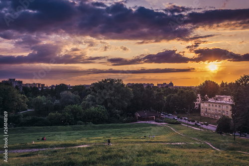 Sunset seen from a hill in Moczydlo Park in Wola district of Warsaw city