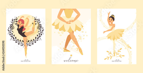 Ballet dancer vector ballerina woman character dancing in ballet-skirt tutu illustration backdrop set of classical ballet-dancer girl background wallpaper © Vectorvstocker