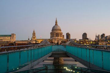 Millenium Bridge with St. Pauls Cathedral in the Background during Golden Hour