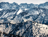 snow covered mountains in the alps in spring