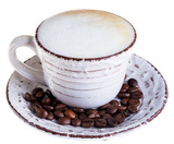 Coffee latte or cappuccino on a white background.