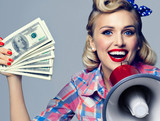 smiling woman with money and megaphone, dressed in pin-up style