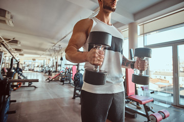 Young muscular man is doing exercises with dumbbells in sunny gym.