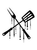graffiti tropfen blut essen grillgabel pfannenwender werkzeug besteck grillzange grillen gabel grill lecker koch bbq chef schürze hunger braten clipart design