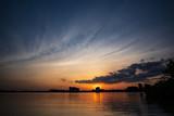 sunset over Whittier Center, Detroit River