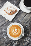 latte art with pastries