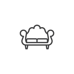Vintage sofa line icon. Couch furniture linear style sign for mobile concept and web design. Comfortable sofa outline vector icon. Symbol, logo illustration. Pixel perfect vector graphics