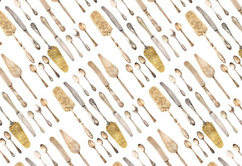 Seamless background vintage cutlery