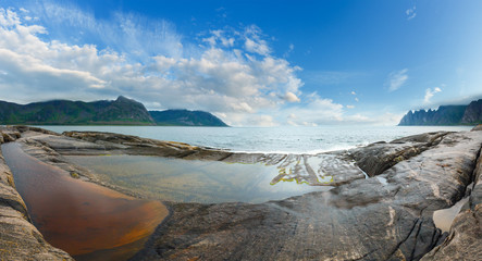 Summer Senja coast panorama (Jagged Ersfjord, Norway)