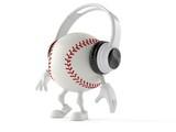Baseball character with headphones