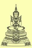 Line draw Emerald Buddha the famous Buddha image inside Wat Phra Kaew