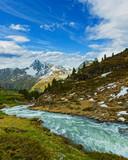 Summer Alps mountain stream