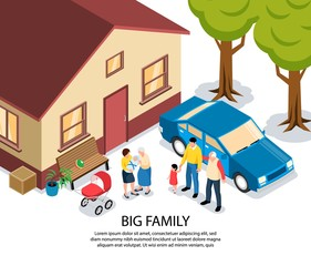 Big Family Isometric Illustration
