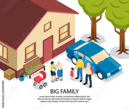 Big Family Isometric Illustration © macrovector