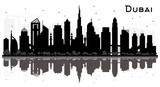 Dubai UAE City skyline silhouette with black buildings isolated on white.