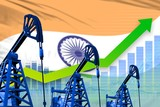 growing graph on India flag background - industrial illustration of India oil industry or market concept. 3D Illustration