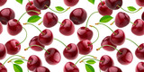 Cherry isolated on white background with clipping path, seamless pattern
