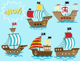 vector set of sailboat cartoon