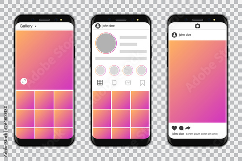 Smartphones with mockup social media frame. Vector illustration