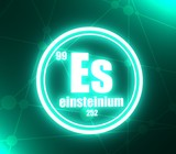 Einsteinium chemical element. Sign with atomic number and atomic weight. Chemical element of periodic table. Molecule and communication background. Connected lines with dots. 3D rendering