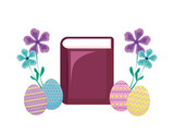 bible with eggs of easter and flowers