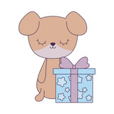 cute dog animal with gift box