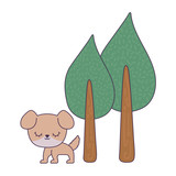 cute dog animal with trees plant