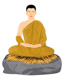 the monk meditation vector design