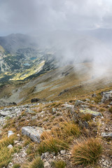 Amazing Panoramic view of hills covered with fog from Musala peak, Rila mountain, Bulgaria © Stoyan Haytov