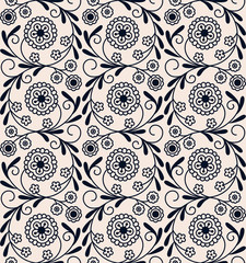 seamless vecor vintage circle arabic floral pattern. design for woodblock, packaging, print. seamless template in swatch panel