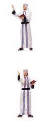 Arab man with koran isolated on white © Elnur