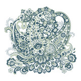 Colorful Paisley Damask ornament. Isolated Vector illustration