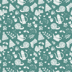 Knitted things. Leaves, branches acorns. Hot drinks and kettle. Snail. Seamless vector pattern (background).