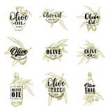 Olive oil, tree and bottle or jar sketch icons