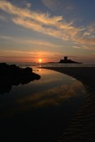 St Ouens Bay, Jersey, U.K. Spring sunset with an ebbing tide.