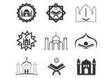 Set of mosque islamic, ramadhan silhoutte logo