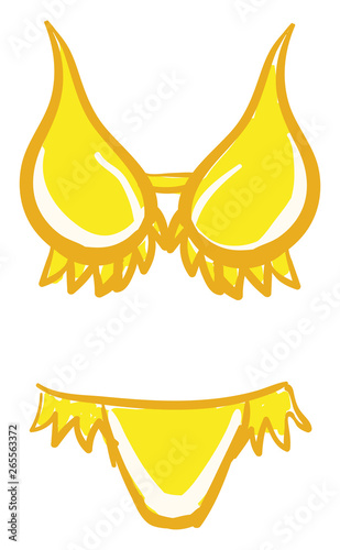 f9f50bd5b5 A yellow women's swimsuit vector or color illustration | Buy Photos ...
