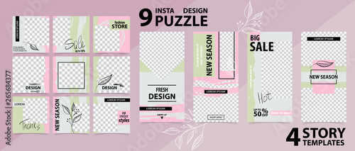 Trendy editable template for social networks stories and posts, vector illustration.