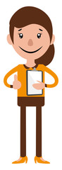 Cartoon woman holding a document illustration vector on white background © Morphart